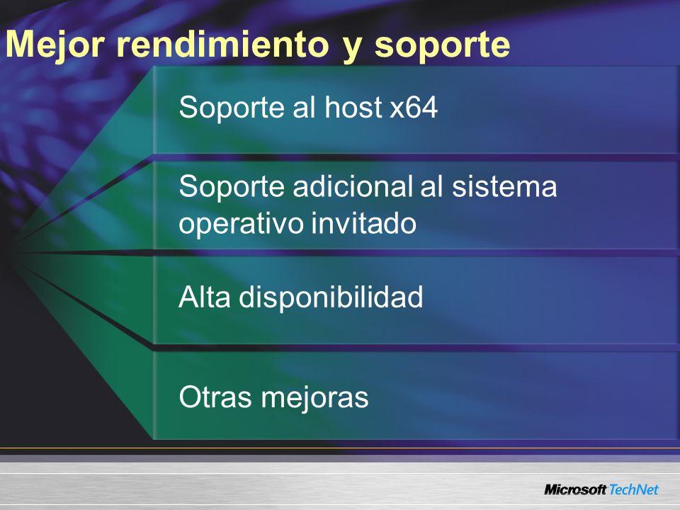 Mejor rendimiento y soporte Soporte al host x64 Soporte adicional al sistema operativo invitado Alta disponibilidad Otras mejoras
