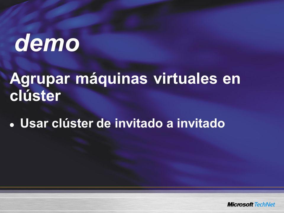 Demo Agrupar máquinas virtuales en clúster Usar clúster de invitado a invitado demo