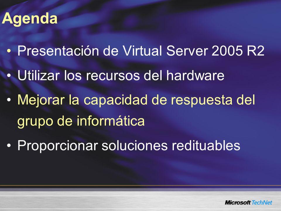 Presentación de Virtual Server 2005 R2 Utilizar los recursos del hardware Mejorar la capacidad de respuesta del grupo de informática Proporcionar soluciones redituables Agenda