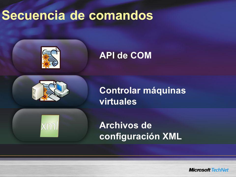 Secuencia de comandos API de COM Controlar máquinas virtuales Archivos de configuración XML