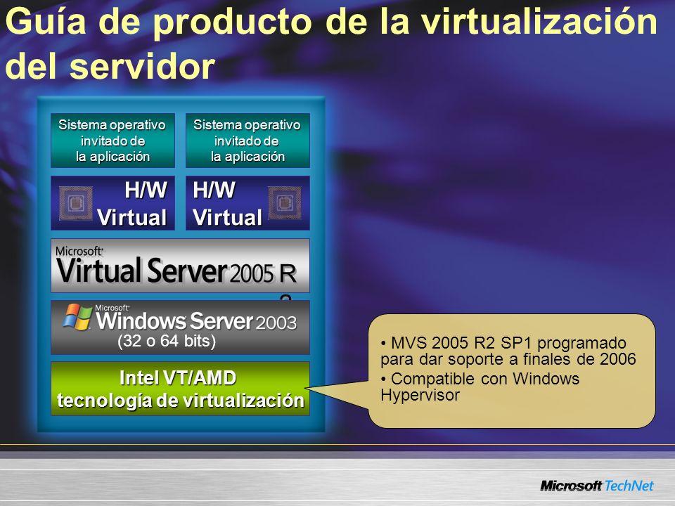 Guía de producto de la virtualización del servidor Sistema operativo invitado de la aplicación Sistema operativo invitado de la aplicación H/WVirtualH/WVirtual R2R2 R2R2 servidor x86/x64 servidor x86/x64 Intel VT/AMD tecnología de virtualización (32 o 64 bits) MVS 2005 R2 SP1 programado para dar soporte a finales de 2006 Compatible con Windows Hypervisor