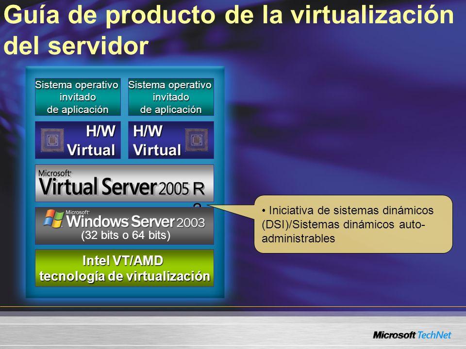 Guía de producto de la virtualización del servidor Sistema operativo invitado de aplicación H/W Virtual R2R2 R2R2 servidor x86/x64 servidor x86/x64 Intel VT/AMD tecnología de virtualización (32 bits o 64 bits) Iniciativa de sistemas dinámicos (DSI)/Sistemas dinámicos auto- administrables