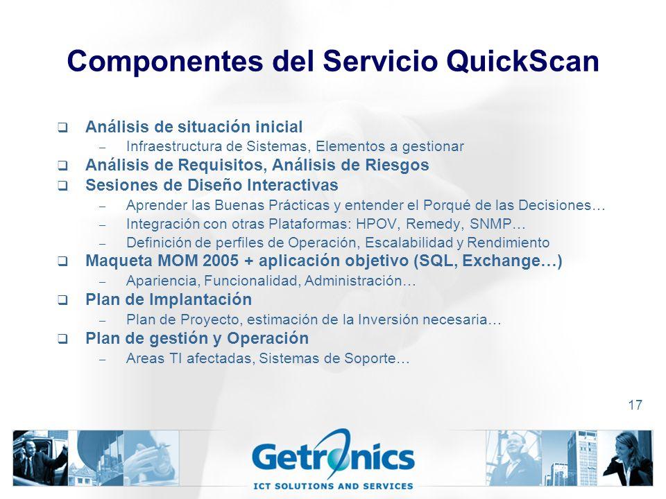 17 Componentes del Servicio QuickScan Análisis de situación inicial – Infraestructura de Sistemas, Elementos a gestionar Análisis de Requisitos, Análisis de Riesgos Sesiones de Diseño Interactivas – Aprender las Buenas Prácticas y entender el Porqué de las Decisiones… – Integración con otras Plataformas: HPOV, Remedy, SNMP… – Definición de perfiles de Operación, Escalabilidad y Rendimiento Maqueta MOM 2005 + aplicación objetivo (SQL, Exchange…) – Apariencia, Funcionalidad, Administración… Plan de Implantación – Plan de Proyecto, estimación de la Inversión necesaria… Plan de gestión y Operación – Areas TI afectadas, Sistemas de Soporte…