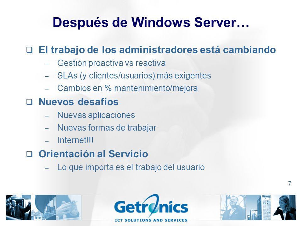 7 Después de Windows Server… El trabajo de los administradores está cambiando – Gestión proactiva vs reactiva – SLAs (y clientes/usuarios) más exigentes – Cambios en % mantenimiento/mejora Nuevos desafíos – Nuevas aplicaciones – Nuevas formas de trabajar – Internet!!.