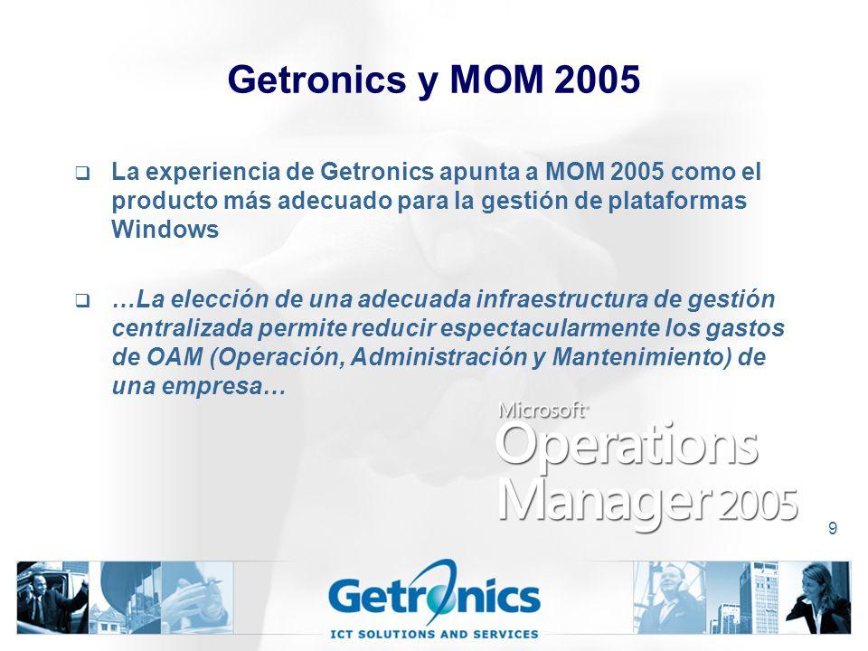 9 Getronics y MOM 2005 La experiencia de Getronics apunta a MOM 2005 como el producto más adecuado para la gestión de plataformas Windows …La elección de una adecuada infraestructura de gestión centralizada permite reducir espectacularmente los gastos de OAM (Operación, Administración y Mantenimiento) de una empresa…