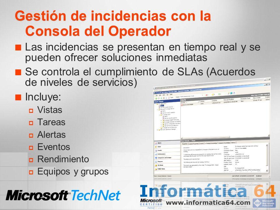 Gestión de incidencias con la Consola del Operador Las incidencias se presentan en tiempo real y se pueden ofrecer soluciones inmediatas Se controla e