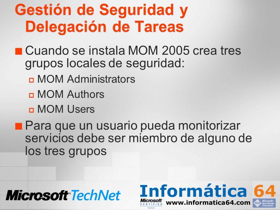 Gestión de Seguridad y Delegación de Tareas Cuando se instala MOM 2005 crea tres grupos locales de seguridad: MOM Administrators MOM Authors MOM Users
