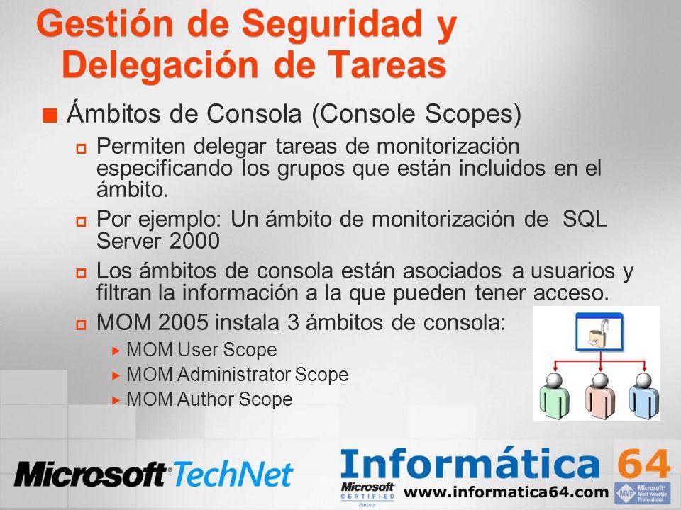 Gestión de Seguridad y Delegación de Tareas Ámbitos de Consola (Console Scopes) Permiten delegar tareas de monitorización especificando los grupos que