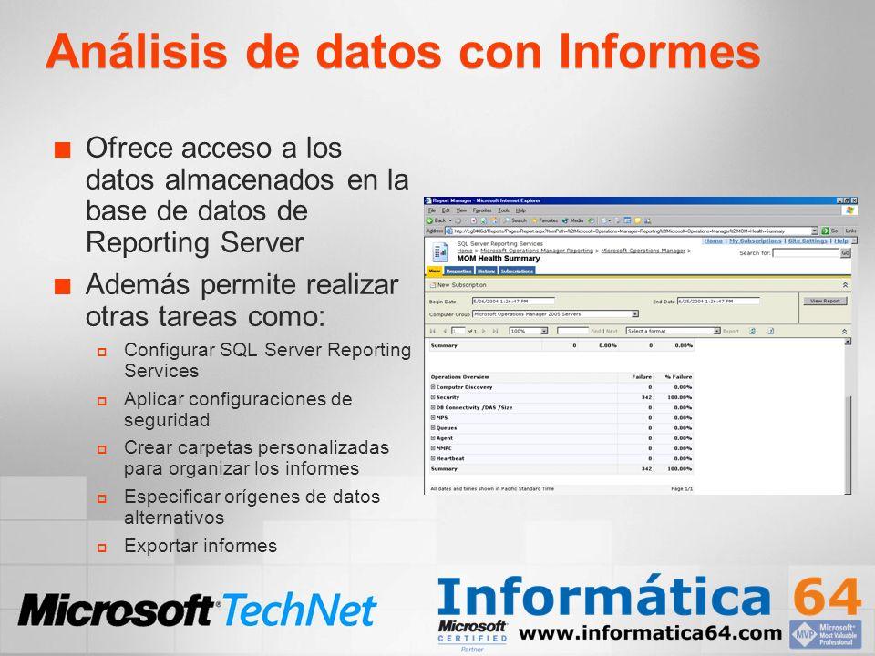 Análisis de datos con Informes Ofrece acceso a los datos almacenados en la base de datos de Reporting Server Además permite realizar otras tareas como