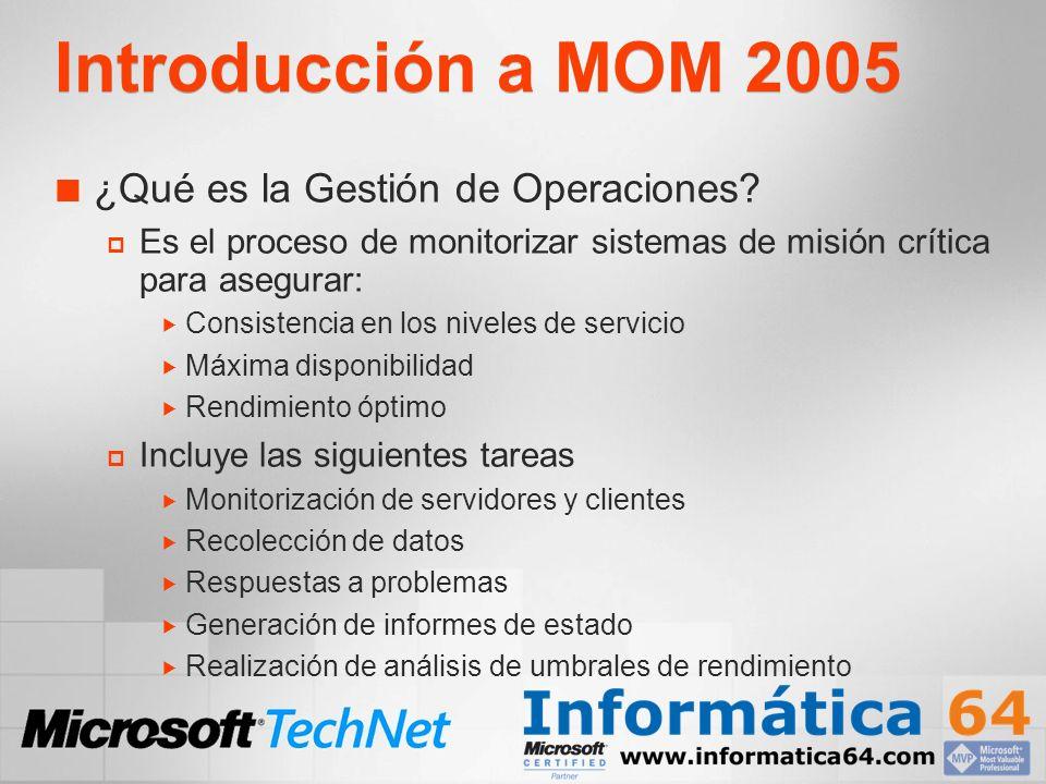 Introducción a MOM 2005 Características clave de MOM 2005 Monitorización centralizada Filtrado de eventos Alertas instantáneas Respuestas automáticas Base de datos de conocimiento Cumplimiento de SLA Informes predefinidos