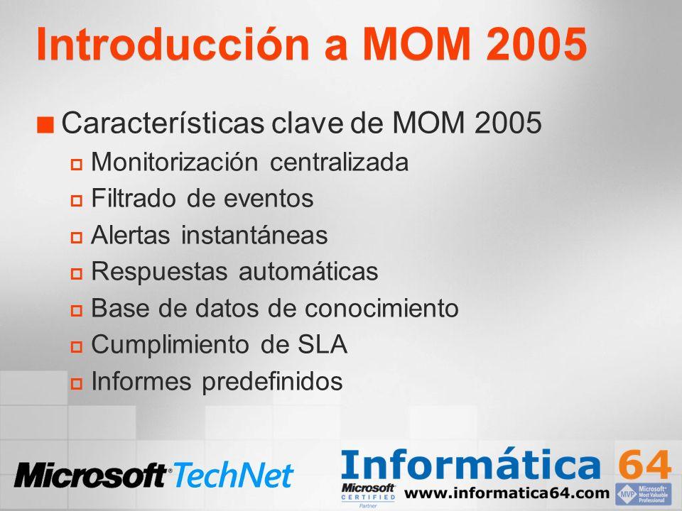 Introducción a MOM 2005 Características clave de MOM 2005 Monitorización centralizada Filtrado de eventos Alertas instantáneas Respuestas automáticas