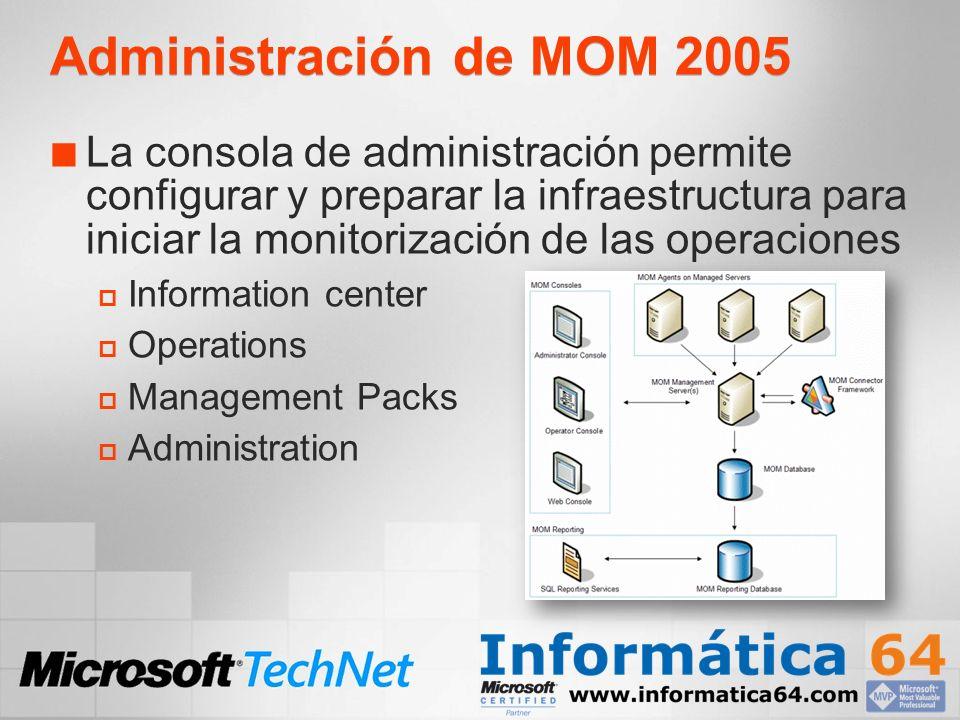 Gestión de Seguridad y Delegación de Tareas MOM Administrators Acceso completo a todas las funciones de MOM 2005 incluyendo todas las consolas MOM Authors Acceso completo a la consola del Operador Acceso limitado a la consola de Administración.
