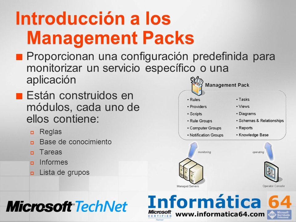 Importación de Management Packs El asistente de importación de MP permite incorporar la lógica de monitorización y componentes a las consolas de Administración, Operador y Reporting.