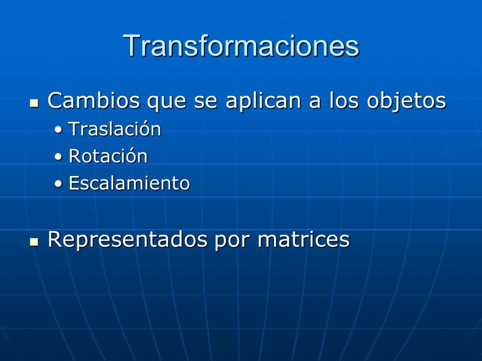 Transformaciones Cambios que se aplican a los objetos Cambios que se aplican a los objetos TraslaciónTraslación RotaciónRotación EscalamientoEscalamiento Representados por matrices Representados por matrices