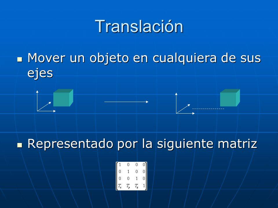 Translación Mover un objeto en cualquiera de sus ejes Mover un objeto en cualquiera de sus ejes Representado por la siguiente matriz Representado por la siguiente matriz