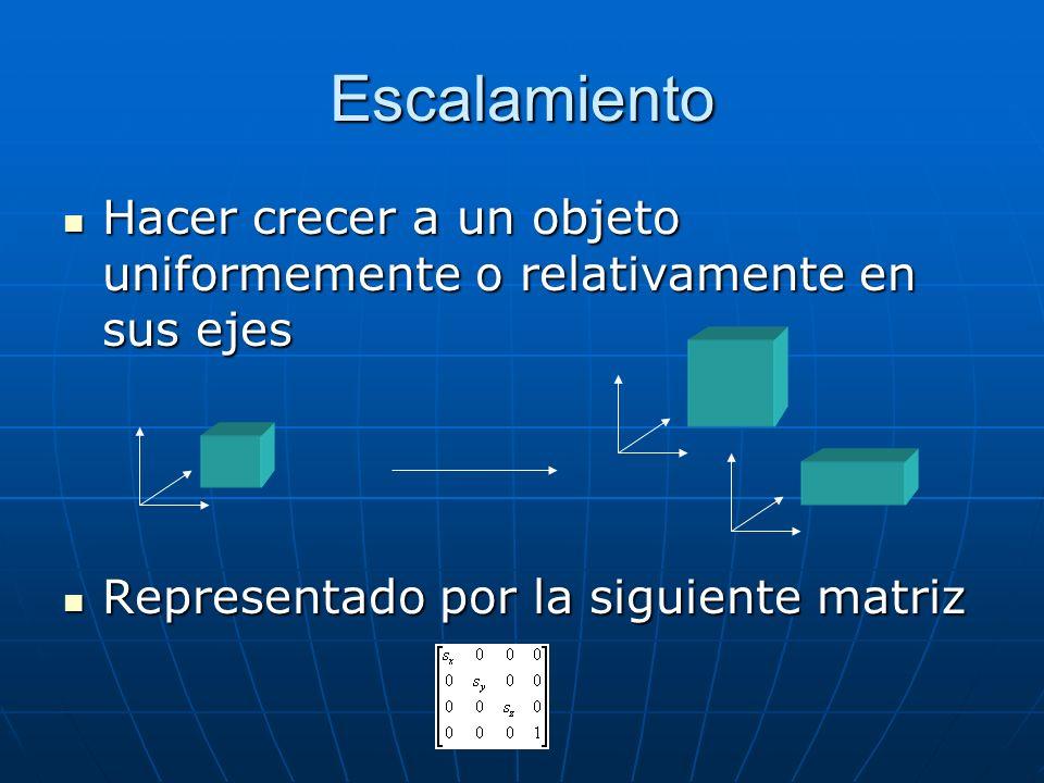 Escalamiento Hacer crecer a un objeto uniformemente o relativamente en sus ejes Hacer crecer a un objeto uniformemente o relativamente en sus ejes Representado por la siguiente matriz Representado por la siguiente matriz