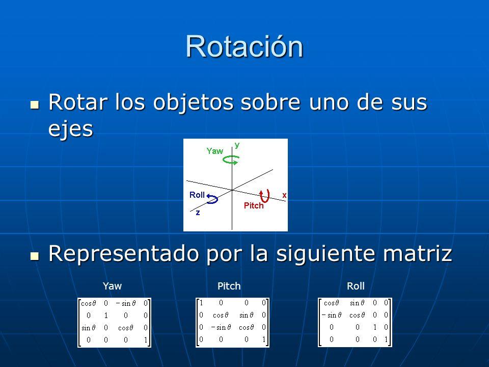 Rotación Rotar los objetos sobre uno de sus ejes Rotar los objetos sobre uno de sus ejes Representado por la siguiente matriz Representado por la siguiente matriz Yaw Pitch Roll