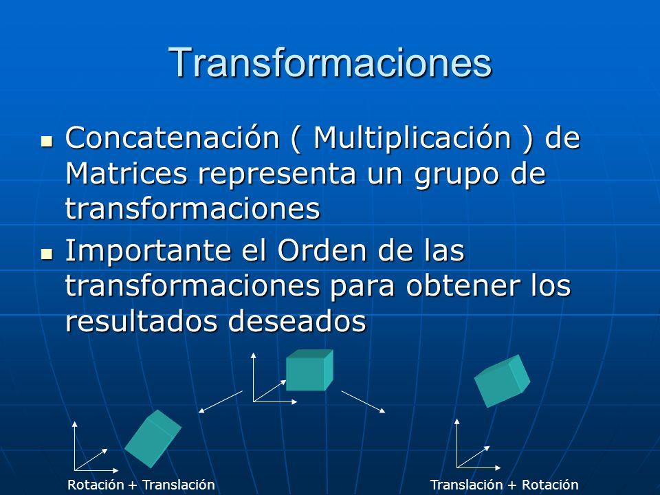 Transformaciones Concatenación ( Multiplicación ) de Matrices representa un grupo de transformaciones Concatenación ( Multiplicación ) de Matrices representa un grupo de transformaciones Importante el Orden de las transformaciones para obtener los resultados deseados Importante el Orden de las transformaciones para obtener los resultados deseados Rotación + TranslaciónTranslación + Rotación
