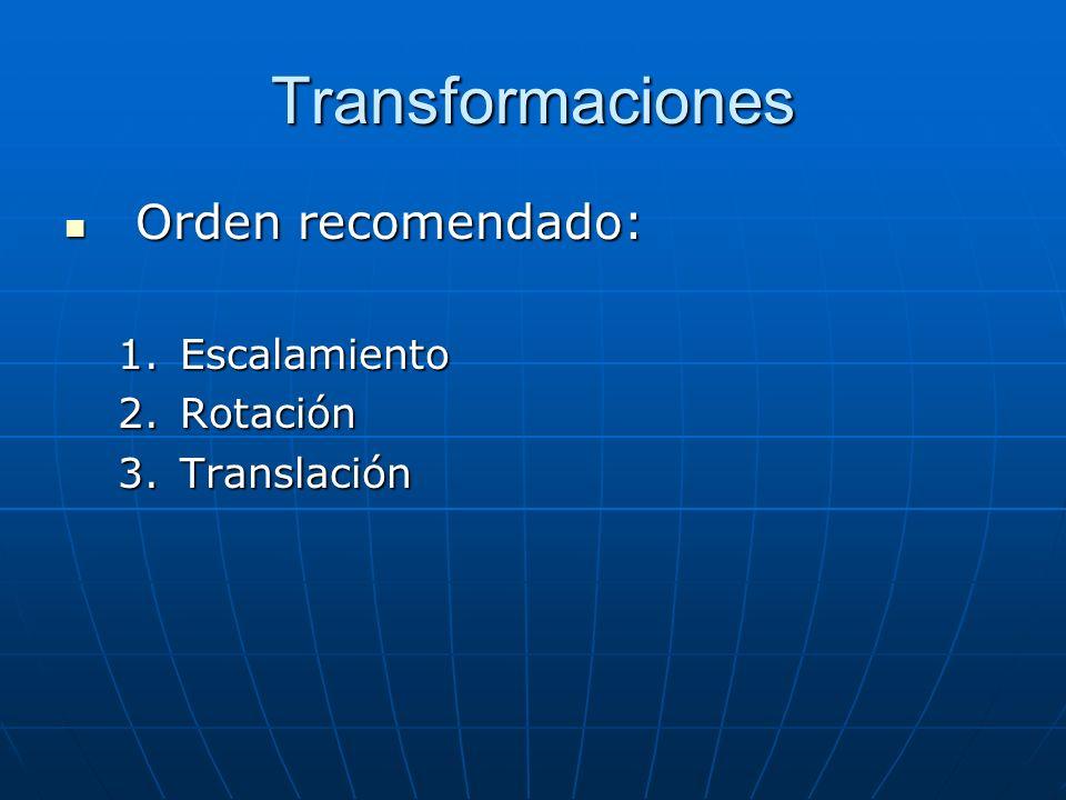 Transformaciones Orden recomendado: Orden recomendado: 1.Escalamiento 2.Rotación 3.Translación