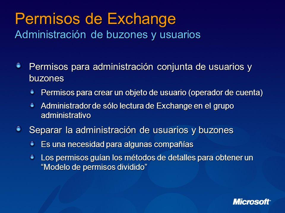 Permisos de Exchange Administración de buzones y usuarios Permisos para administración conjunta de usuarios y buzones Permisos para crear un objeto de