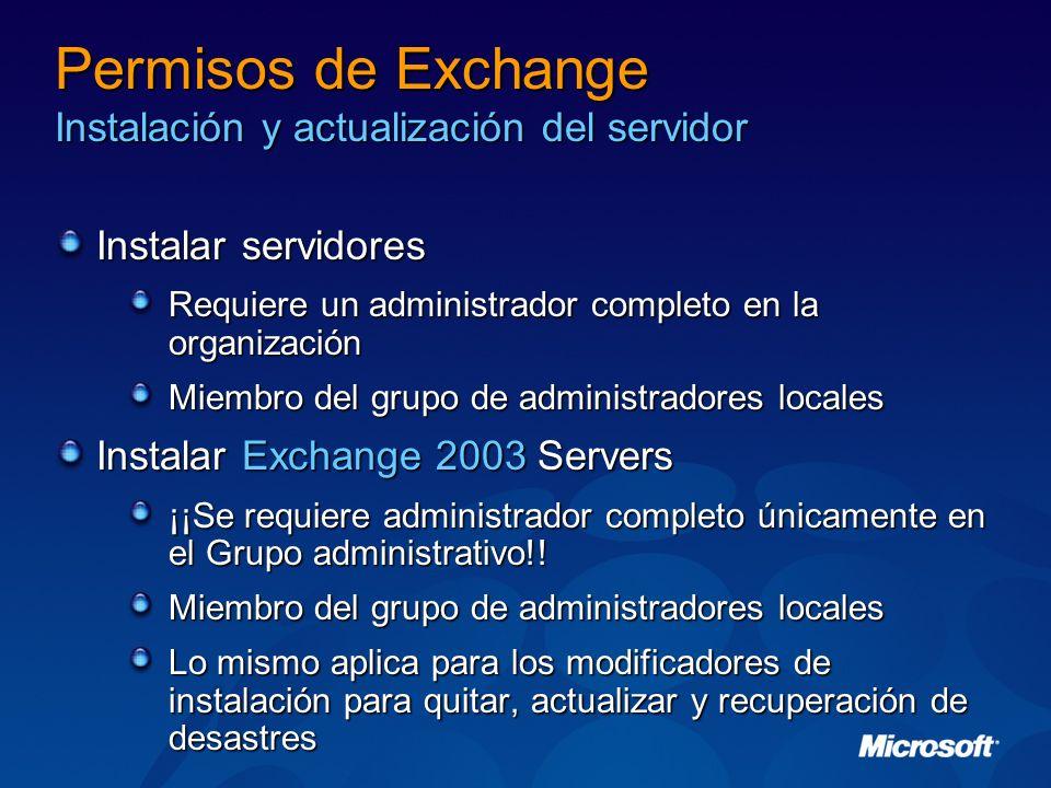 Permisos de Exchange Instalación y actualización del servidor Instalar servidores Requiere un administrador completo en la organización Miembro del gr