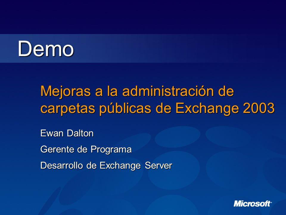 Mejoras a la administración de carpetas públicas de Exchange 2003 Ewan Dalton Gerente de Programa Desarrollo de Exchange Server Demo