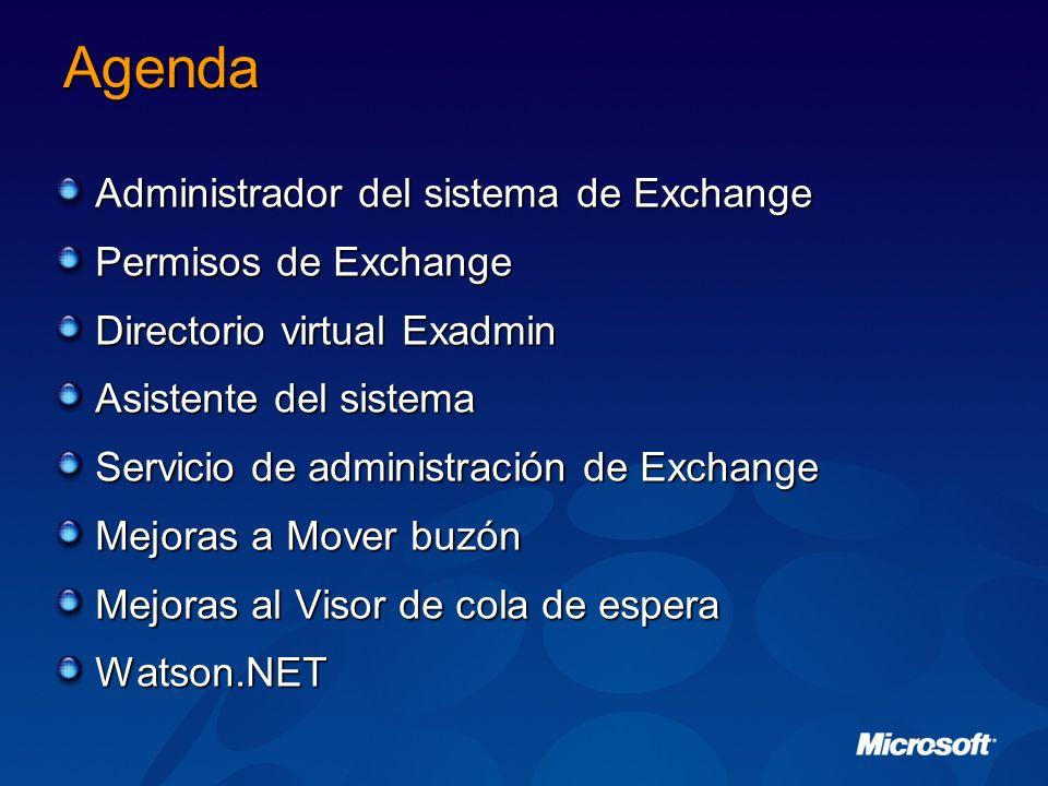 Agenda Administrador del sistema de Exchange Permisos de Exchange Directorio virtual Exadmin Asistente del sistema Servicio de administración de Excha