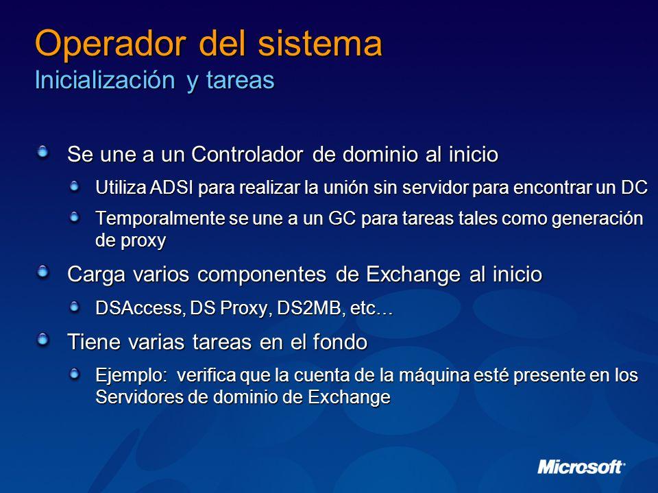 Operador del sistema Inicialización y tareas Se une a un Controlador de dominio al inicio Utiliza ADSI para realizar la unión sin servidor para encont