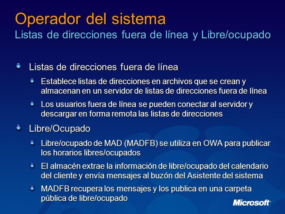 Operador del sistema Listas de direcciones fuera de línea y Libre/ocupado Listas de direcciones fuera de línea Establece listas de direcciones en arch