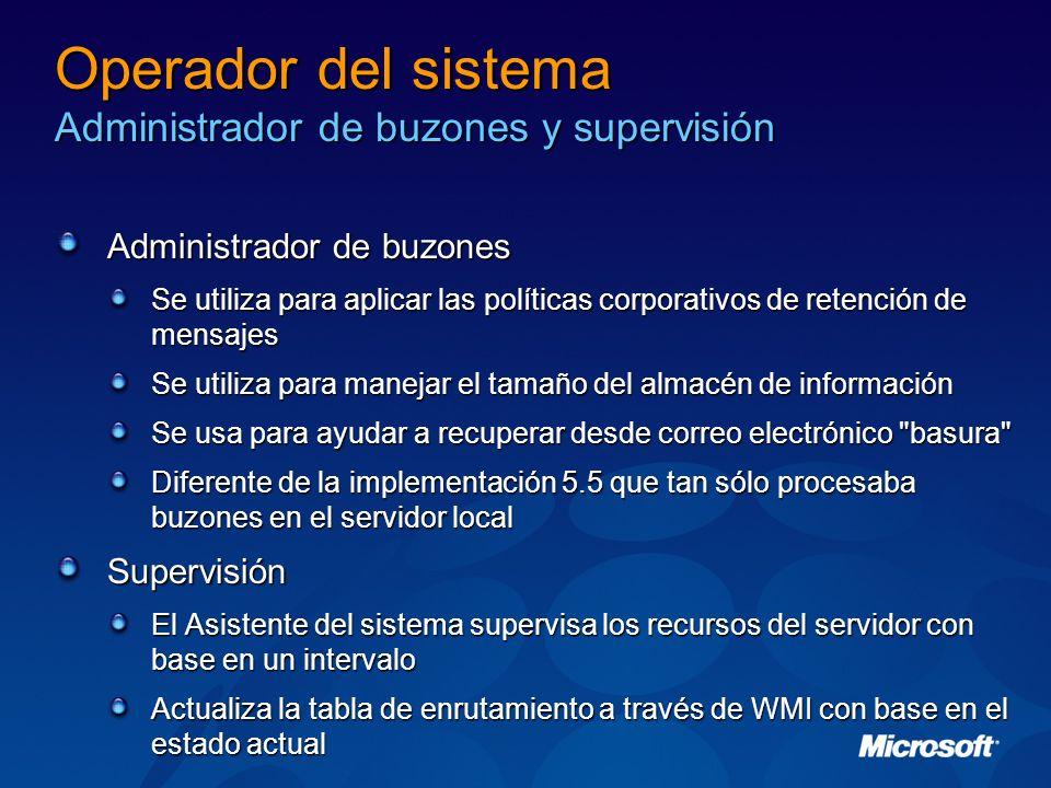 Operador del sistema Administrador de buzones y supervisión Administrador de buzones Se utiliza para aplicar las políticas corporativos de retención d
