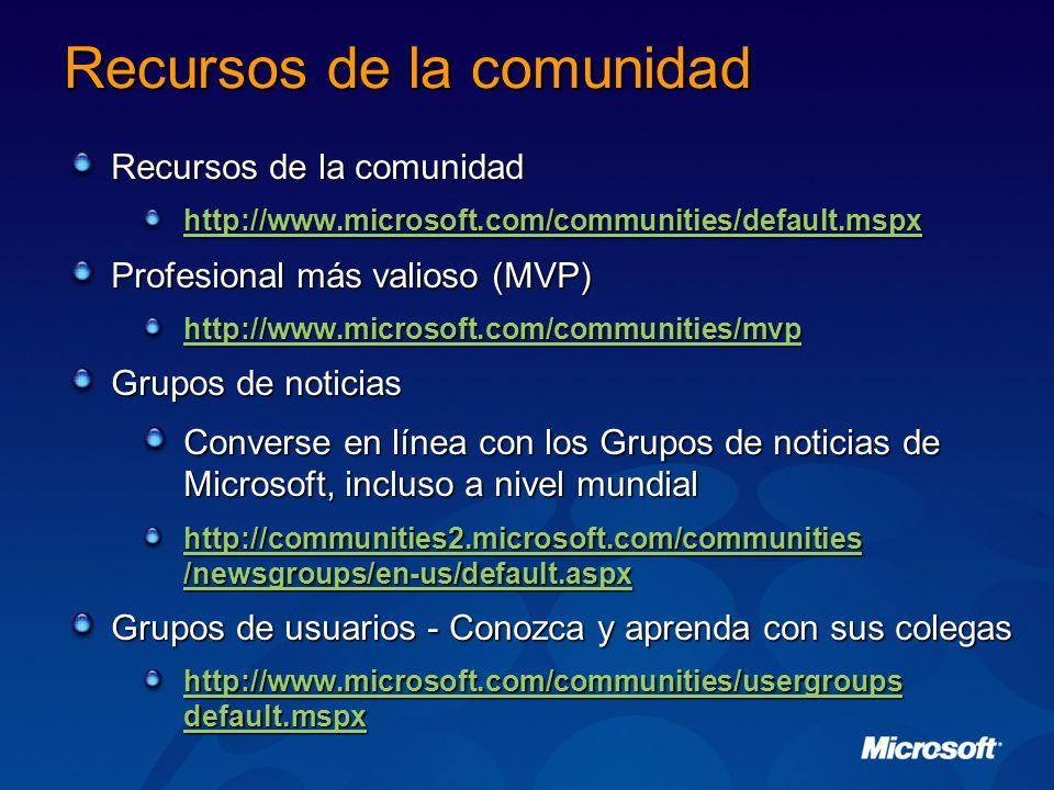 Recursos de la comunidad http://www.microsoft.com/communities/default.mspx Profesional más valioso (MVP) http://www.microsoft.com/communities/mvp Grup