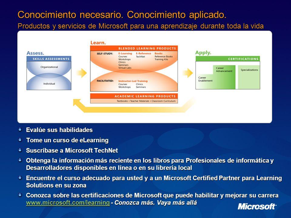 Evalúe sus habilidades Tome un curso de eLearning Suscríbase a Microsoft TechNet Obtenga la información más reciente en los libros para Profesionales