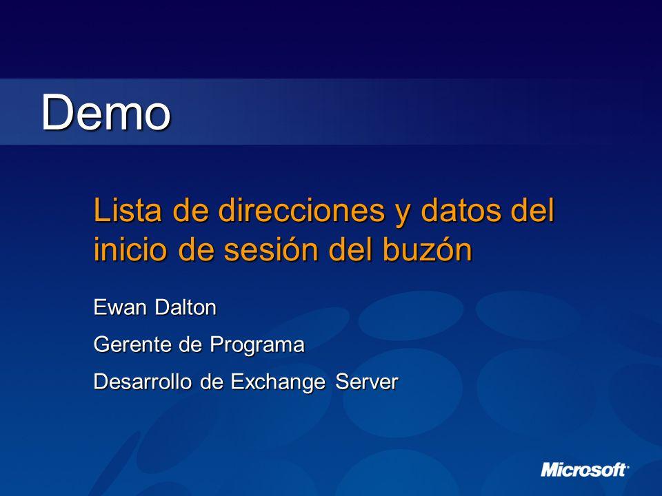 Lista de direcciones y datos del inicio de sesión del buzón Ewan Dalton Gerente de Programa Desarrollo de Exchange Server Demo