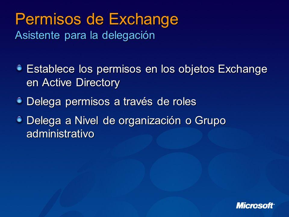 Permisos de Exchange Asistente para la delegación Establece los permisos en los objetos Exchange en Active Directory Delega permisos a través de roles