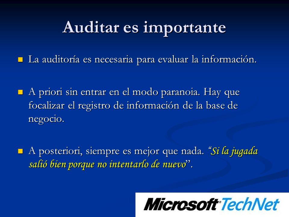 Auditar es importante La auditoría es necesaria para evaluar la información.