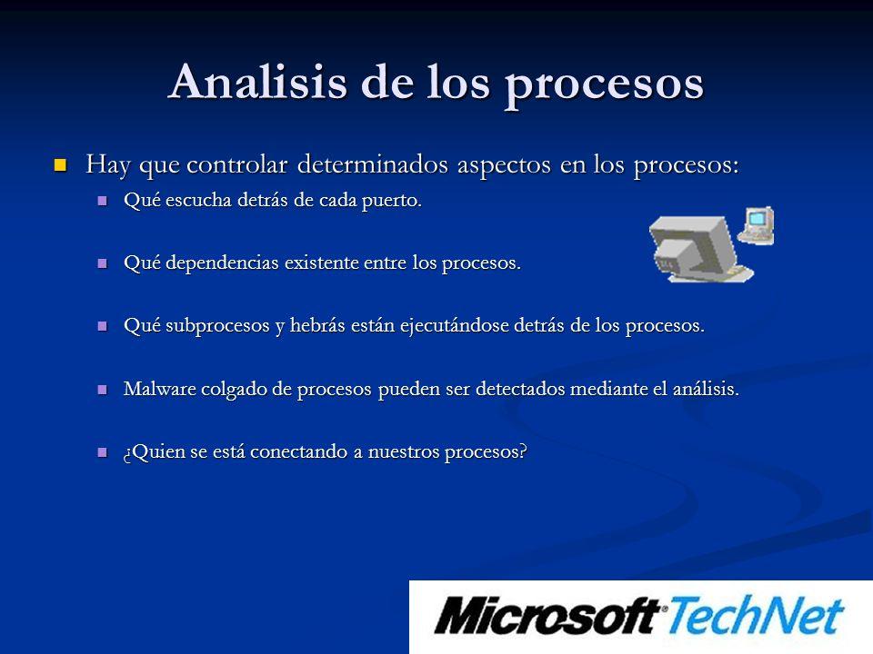 Analisis de los procesos Hay que controlar determinados aspectos en los procesos: Hay que controlar determinados aspectos en los procesos: Qué escucha detrás de cada puerto.