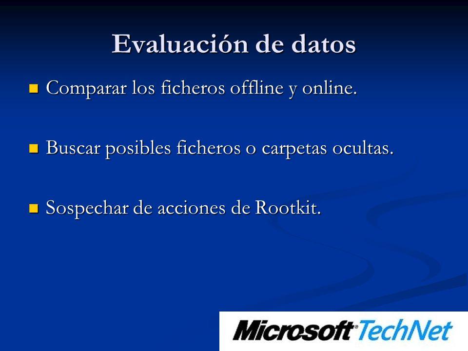 Evaluación de datos Comparar los ficheros offline y online.