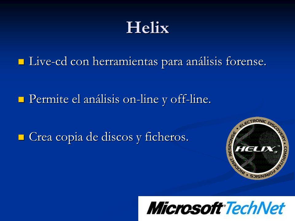 Helix Live-cd con herramientas para análisis forense.