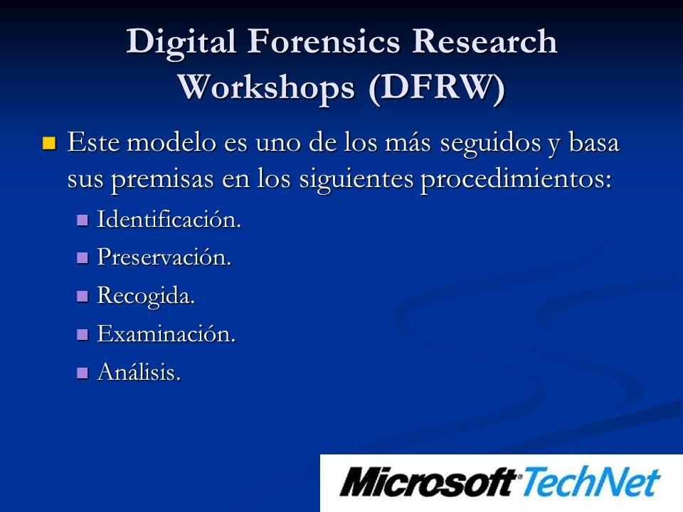 Digital Forensics Research Workshops (DFRW) Este modelo es uno de los más seguidos y basa sus premisas en los siguientes procedimientos: Este modelo es uno de los más seguidos y basa sus premisas en los siguientes procedimientos: Identificación.