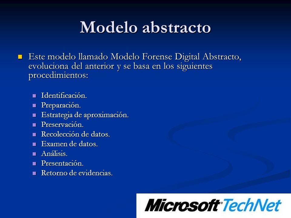 Modelo abstracto Este modelo llamado Modelo Forense Digital Abstracto, evoluciona del anterior y se basa en los siguientes procedimientos: Este modelo llamado Modelo Forense Digital Abstracto, evoluciona del anterior y se basa en los siguientes procedimientos: Identificación.
