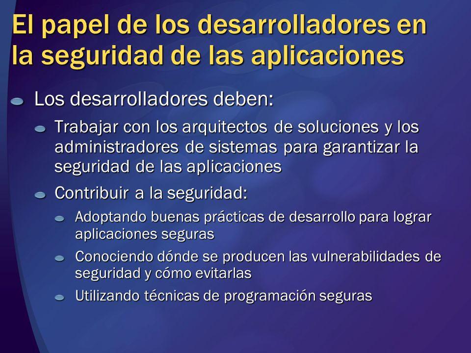 El papel de los desarrolladores en la seguridad de las aplicaciones Los desarrolladores deben: Trabajar con los arquitectos de soluciones y los admini