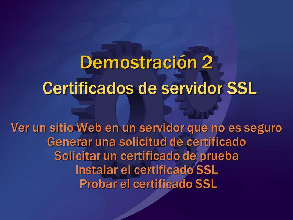 Demostración 2 Certificados de servidor SSL Ver un sitio Web en un servidor que no es seguro Generar una solicitud de certificado Solicitar un certifi