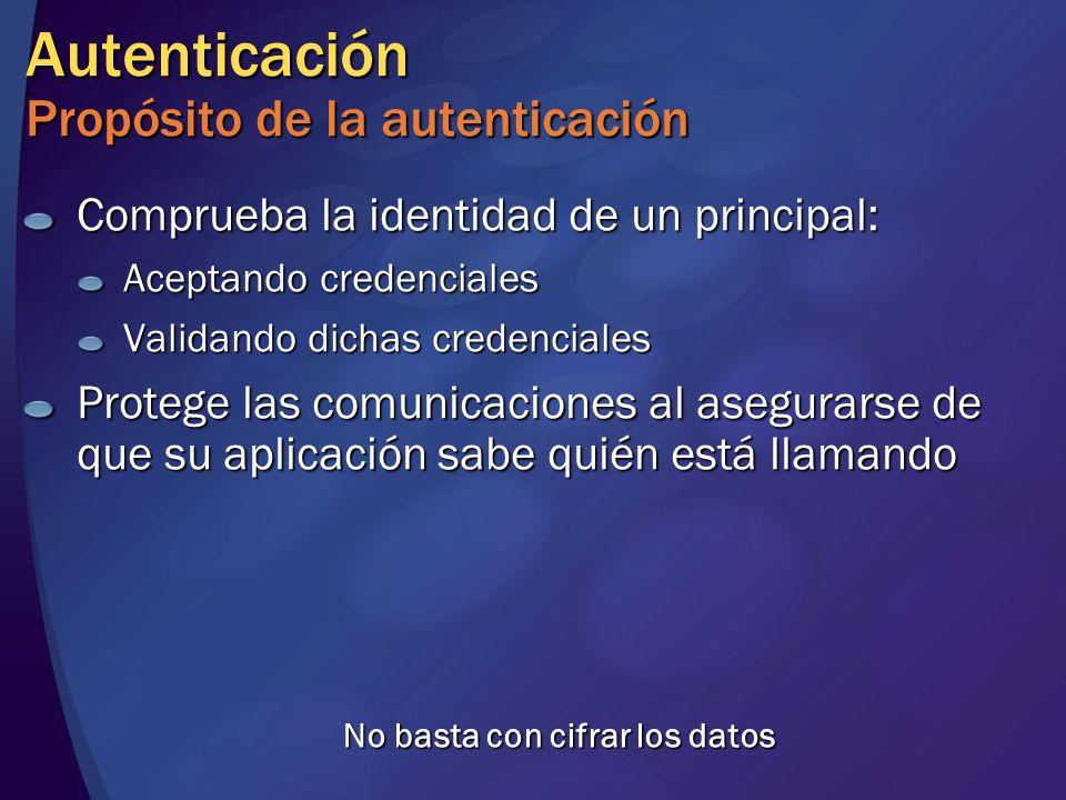 Autenticación Propósito de la autenticación Comprueba la identidad de un principal: Aceptando credenciales Validando dichas credenciales Protege las c