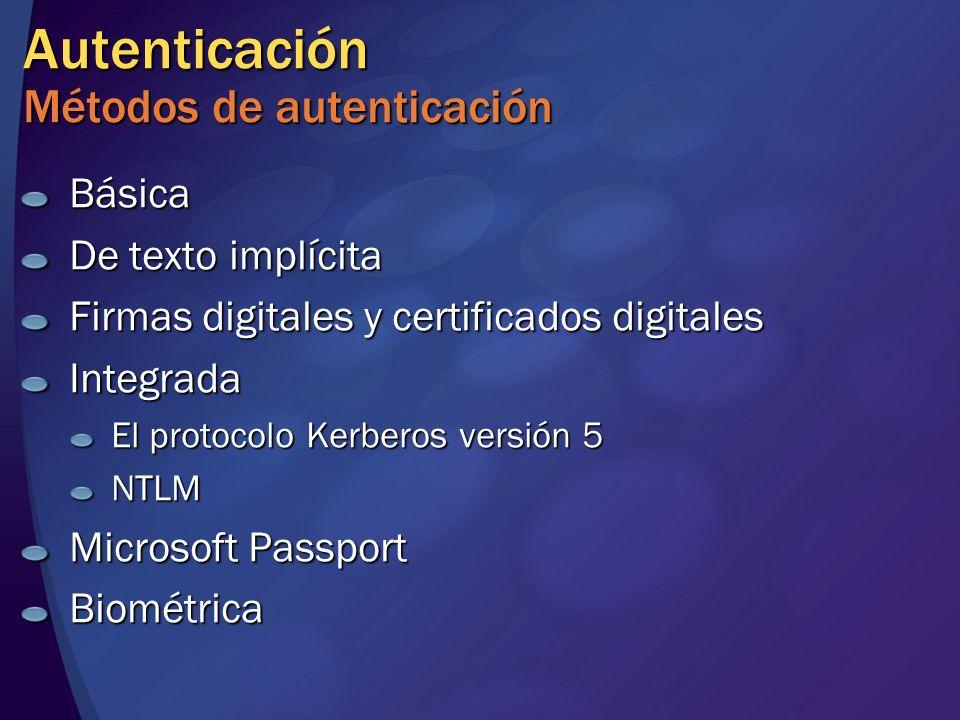 Autenticación Métodos de autenticación Básica De texto implícita Firmas digitales y certificados digitales Integrada El protocolo Kerberos versión 5 N