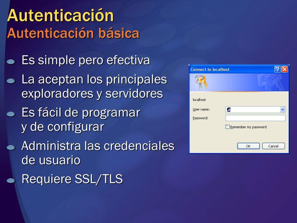 Autenticación Autenticación básica Es simple pero efectiva La aceptan los principales exploradores y servidores Es fácil de programar y de configurar