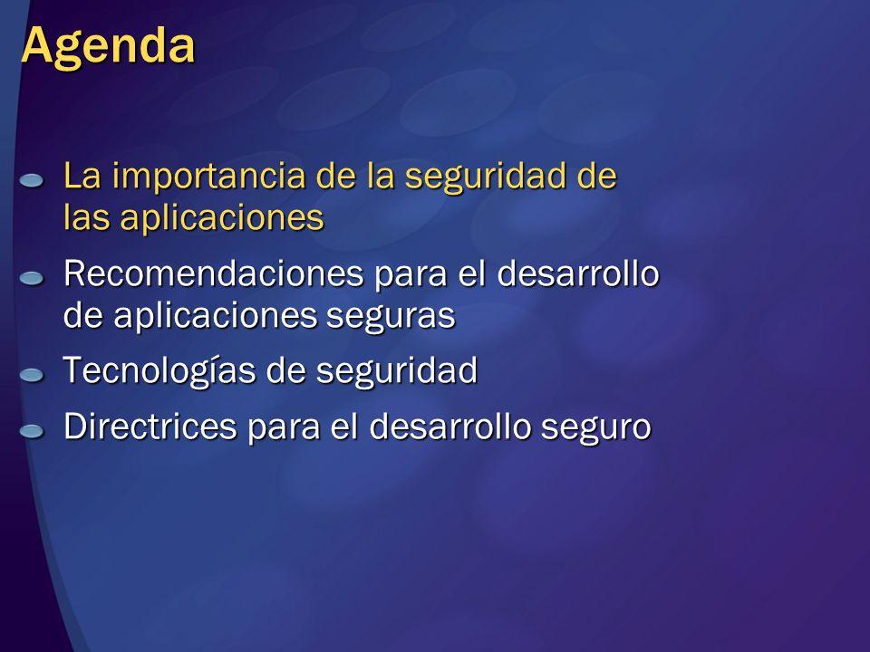 Agenda La importancia de la seguridad de las aplicaciones Recomendaciones para el desarrollo de aplicaciones seguras Tecnologías de seguridad Directri