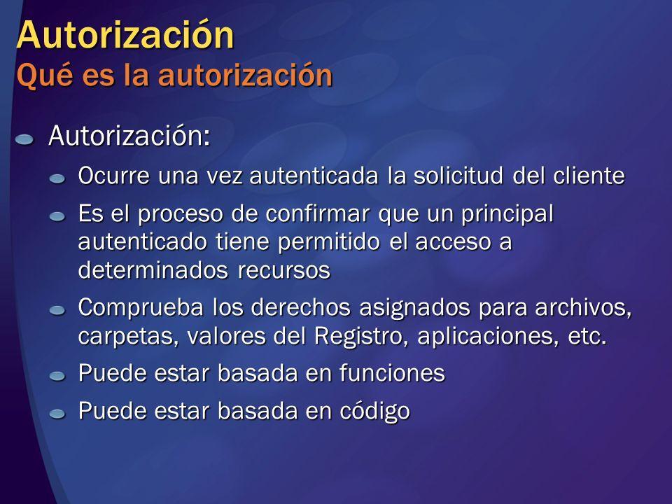 Autorización Qué es la autorización Autorización: Ocurre una vez autenticada la solicitud del cliente Es el proceso de confirmar que un principal aute