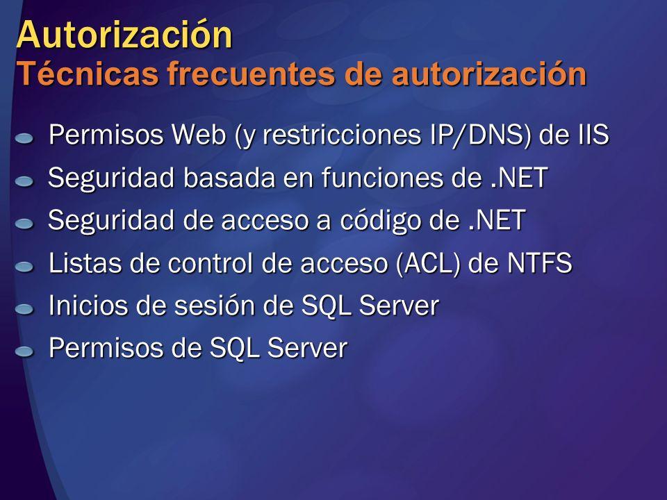 Autorización Técnicas frecuentes de autorización Permisos Web (y restricciones IP/DNS) de IIS Seguridad basada en funciones de.NET Seguridad de acceso