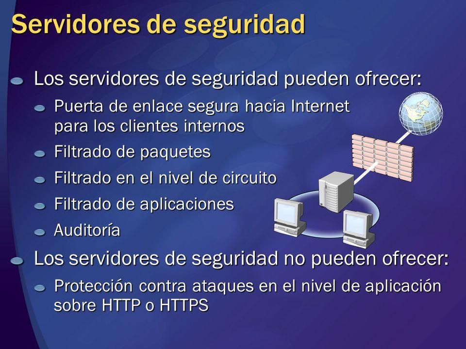 Servidores de seguridad Los servidores de seguridad pueden ofrecer: Puerta de enlace segura hacia Internet para los clientes internos Filtrado de paqu
