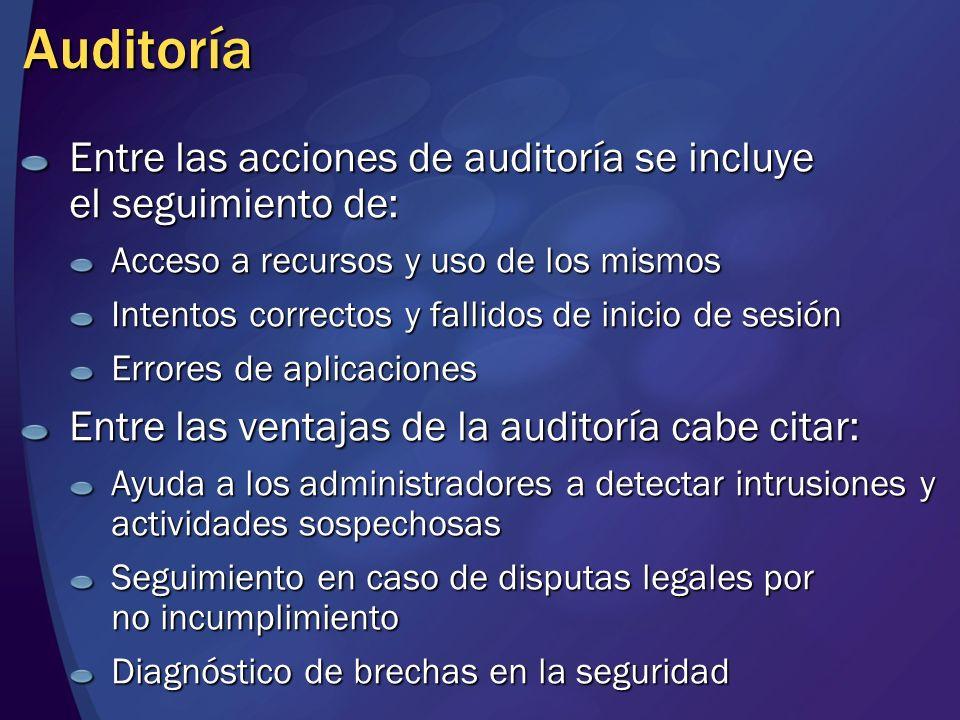 Auditoría Entre las acciones de auditoría se incluye el seguimiento de: Acceso a recursos y uso de los mismos Intentos correctos y fallidos de inicio